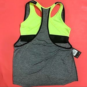 Nike Gray and Black Dri Fit Top Neon Green Bra NWT